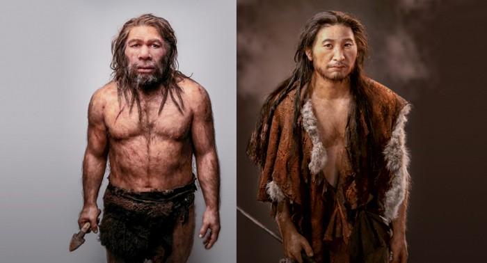 A la derecha un Neandertal y a su lado un Homo Sapiens