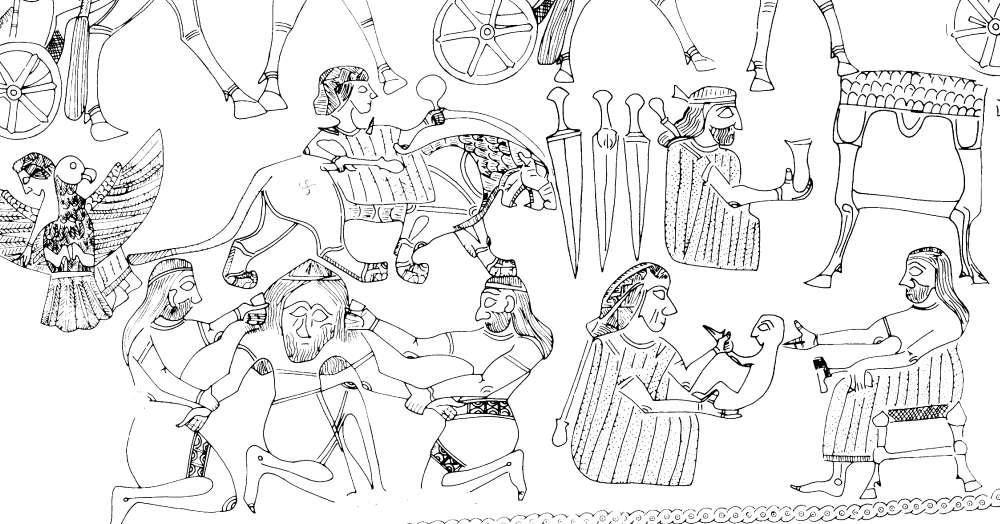 Estos detalles del cuenco de oro de Hasanlu incluyen figuras barbudas que participan en roles de género tradicionalmente asignados a las mujeres