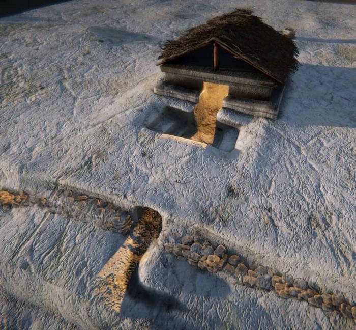 Reconstrucción digital del baño de stean maya