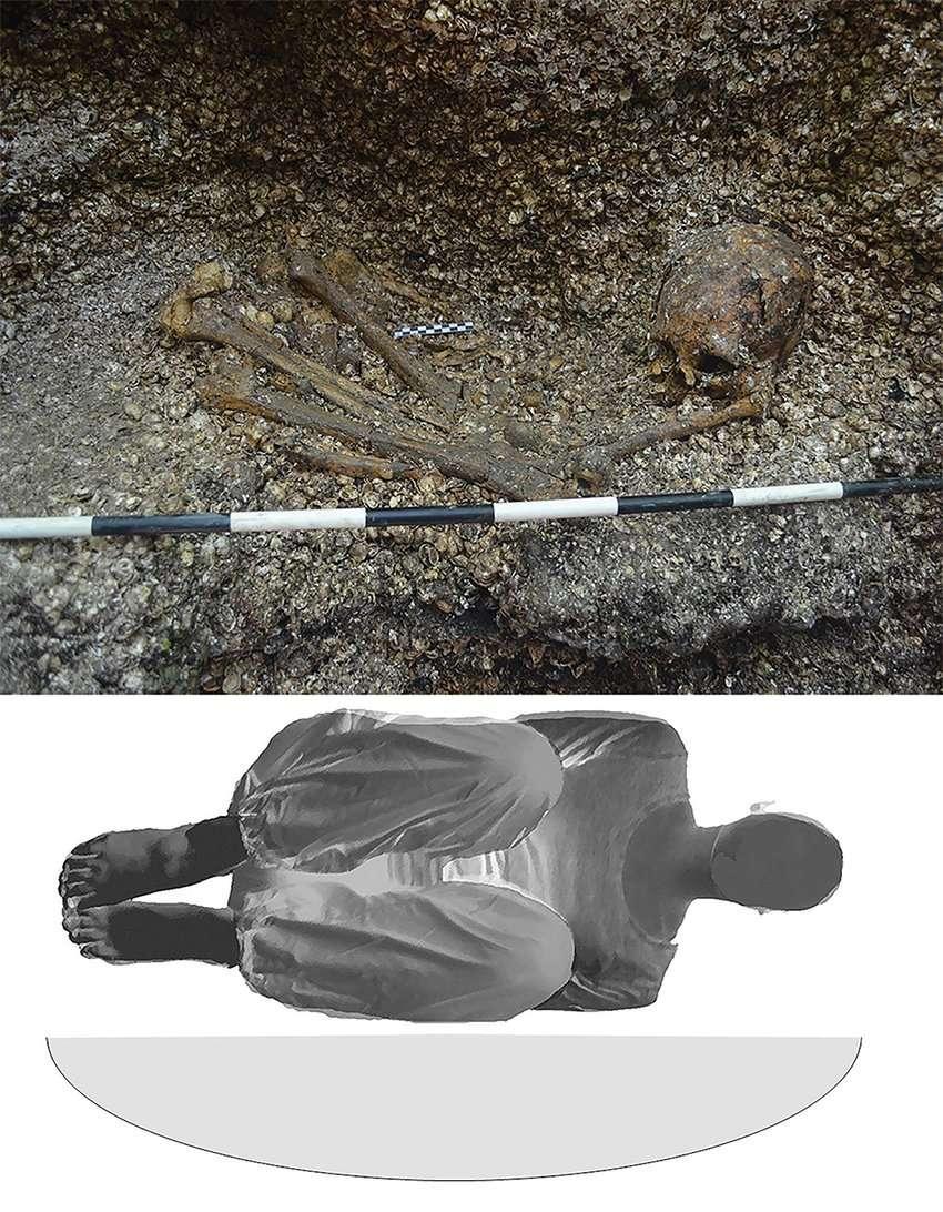 (Arriba) Entierro durante la excavación (cortesía de BICU-CIDCA); parte inferior) posición reconstruida de la representación individual y esquemática enterrada de la fosa de entierro poco profunda