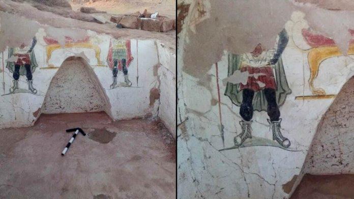 Hallan tumbas de la época romana con restos humanos y coloridas pinturas funerarias en Egipto