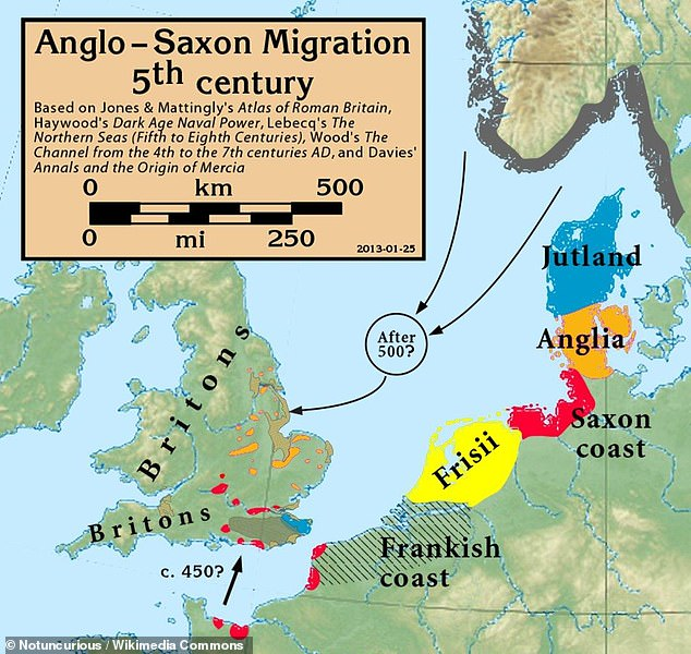 Los anglosajones fueron un pueblo que habitó Gran Bretaña desde el siglo V d.C. hasta 1066, cuando fueron conquistados por los normandos. Este mapa muestra los territorios que invadieron