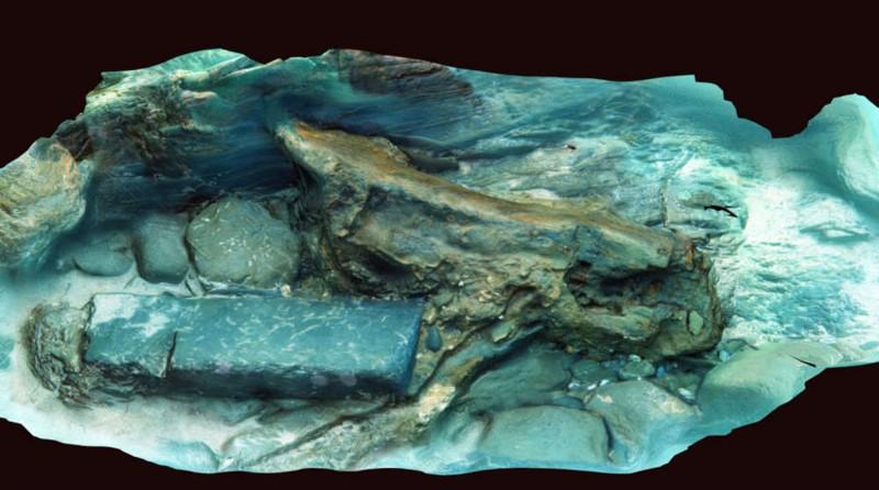 Fotogrametría 3D de madera y piedra del naufragio del barco