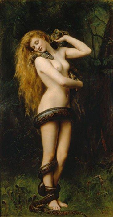 Lilith (1892), óleo de John Collier expuesto en la Galería de Arte Atkinson, Street (Inglaterra)