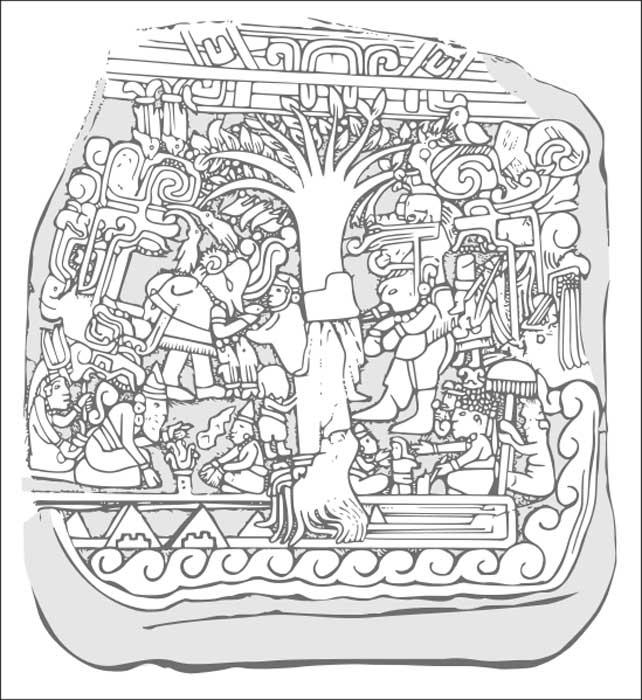 Dibujo del relieve de la Estela 5 de Izapa