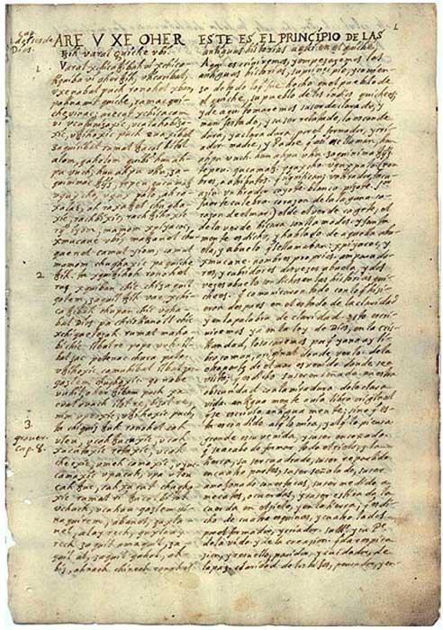 Traducción del Popol Vuh realizada en el siglo XVIII