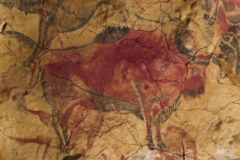 Pintura rupestre de bisonte en Altamira, España