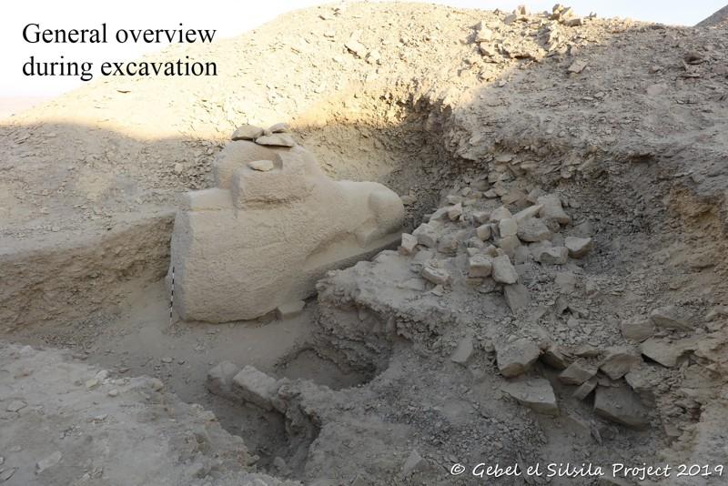 Vista general después de la excavación de la esfinge