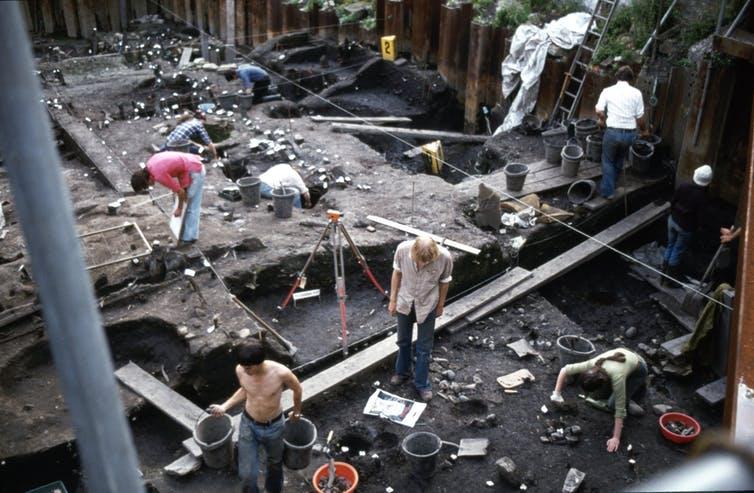 Excavación de la aldea vikinga en York en 1980