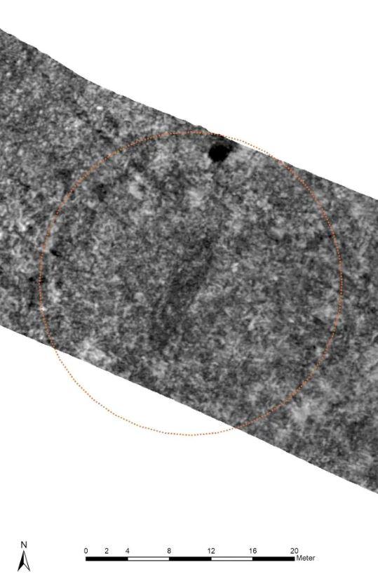 La imagen generada a partir de un georadar muestra la tumba de un barco que probablemente se originó a partir de la Era Vikinga