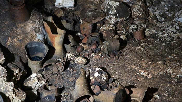 Restos precolombinos hallados en una cueva de las las ruinas mayas del Chichén Itzá, México, el 19 de febrero de 2019