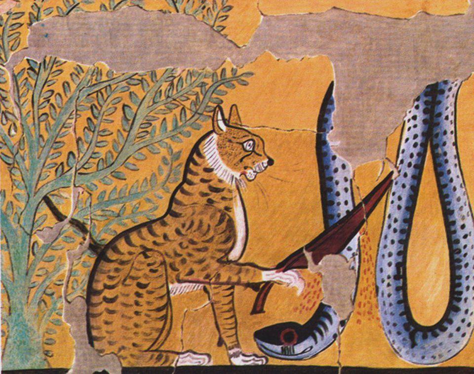 Gato matando a una serpiente, Tumba de Sennedjem, Egipcio, Facsímil, XIX Dinastía