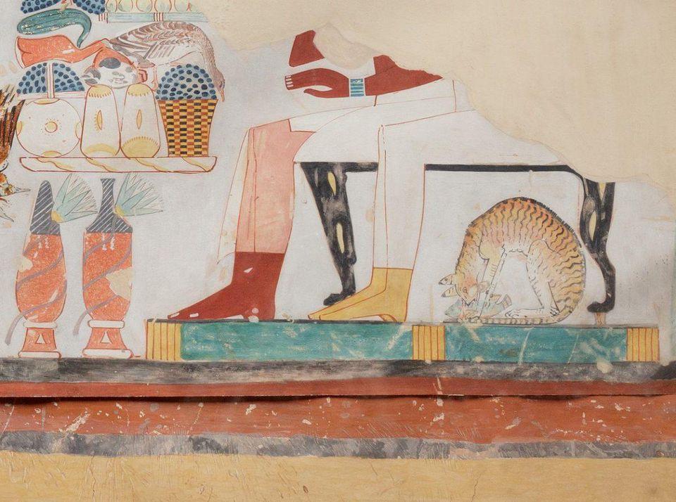 Escena del banquete, Tumba de Najt, Fiesta de gatas en un pez, Egipcio, Nuevo Reino
