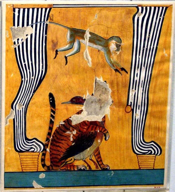 Gato y otros animales sentados bajo una silla, Tumba de Anen, Egipto, New Kingdom
