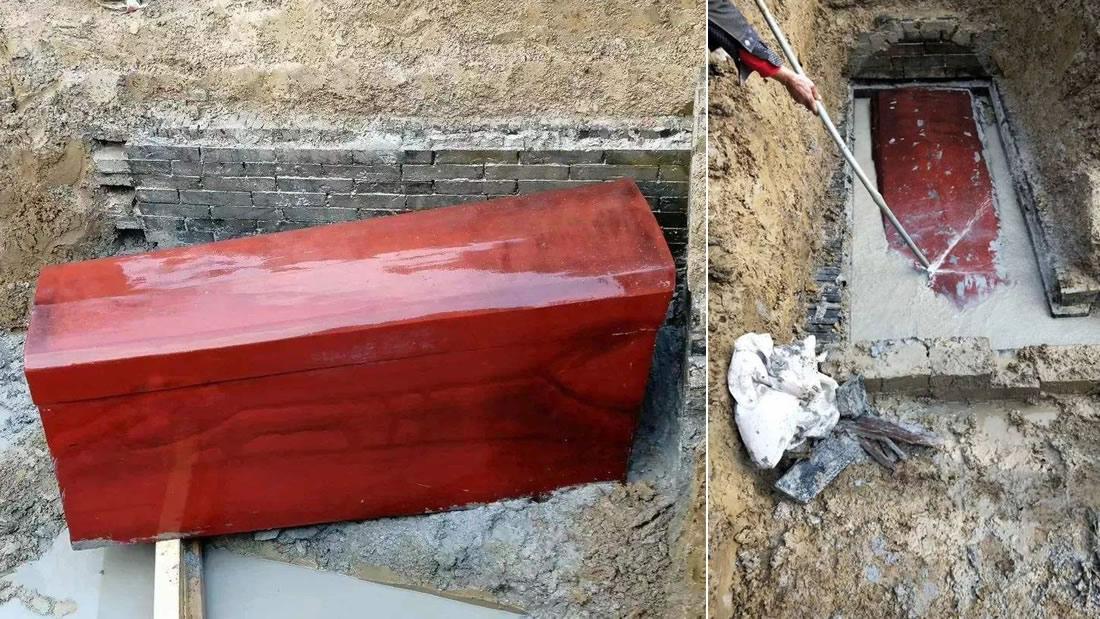 Hallan en China un raro y antiguo ataúd de laca que parece recién pintado