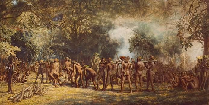 Festín caníbal en Tanna, Vanuatú, ca. 1885-9