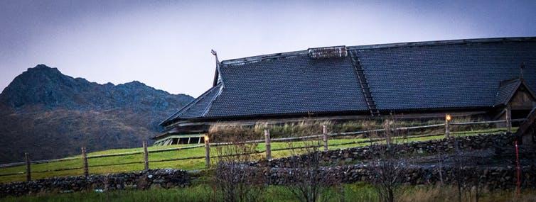 La sala de vikingos reconstruida de Lofoten, Noruega