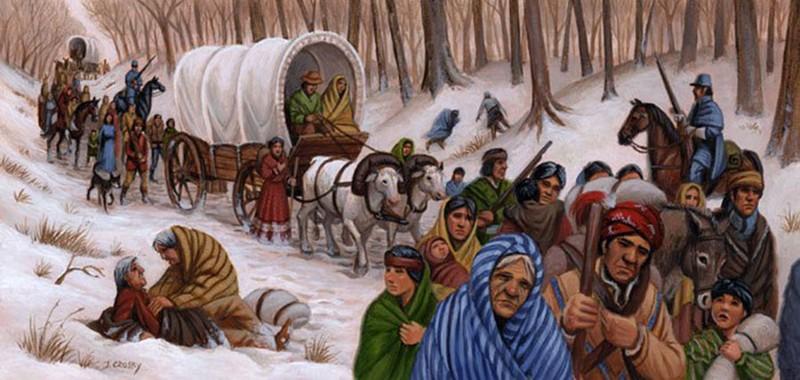 Representación artística del Sendero de las Lágrimas, el injusto y cruel destierro de los nativos norteamericanos